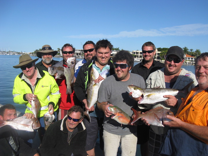 group shot amberjack pearl perch squire tusk fish from the banks