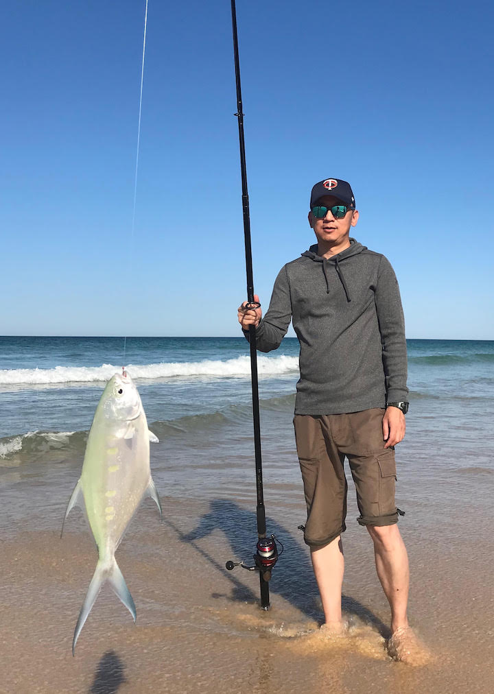 Danny a tourist from Shanghai caught this dart on Fraser Island beach